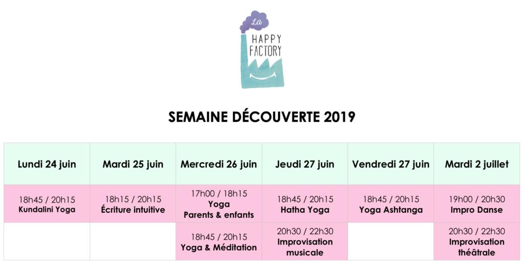Planning semaine découverte 2019